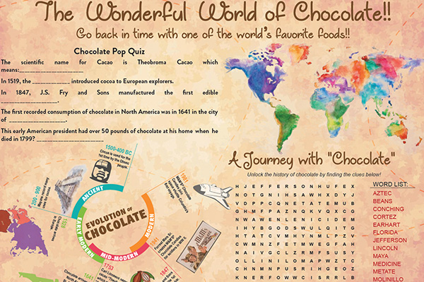 chocolate activity placemat