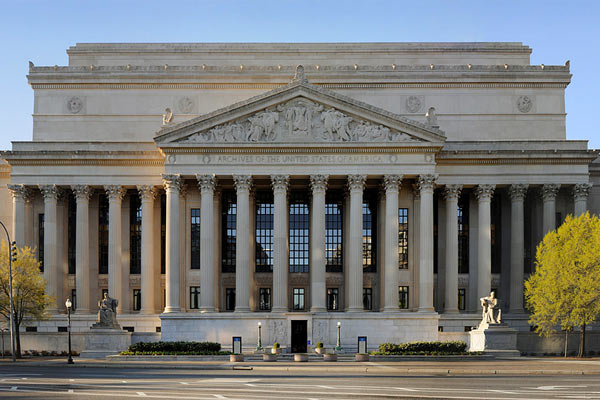 Entrance to the National Archives in Washington DC