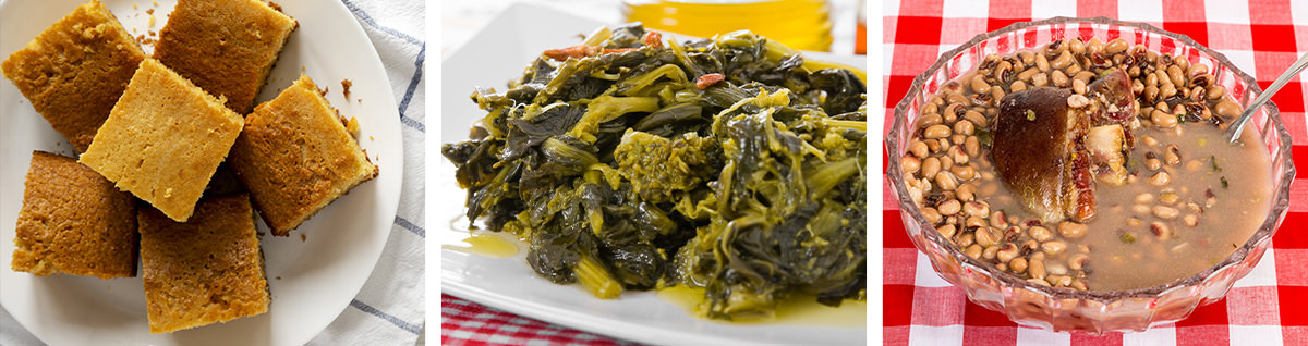 Adrian Miller recipes, corn bread, collard greens and black eyed peas.