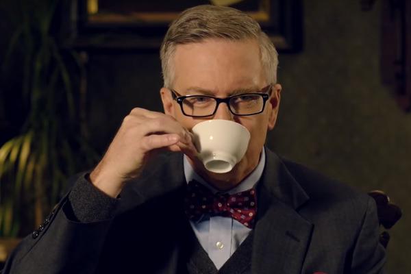 David Borgesani drinking hot cocoa