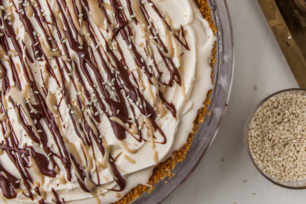 Tahini Ice Box pie with chocolate drizzle